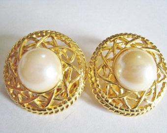 Gold Tone Faux Pearl Clip Earrings