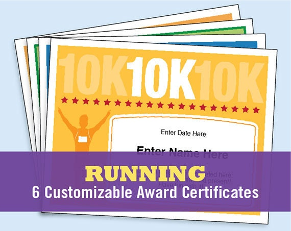 Running certificates pack runner award 5k 10k fun run one for Cross country certificate templates free