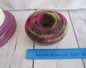 Felt bowls, five, nesting, shades of fushia, lime, brown and beige, 100% wool, spot clean only