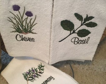 Herb Decorative Hand Towels Set of 3/Hostess Gift