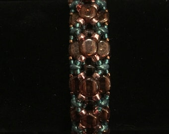 Turquoise and bronze beaded bracelet
