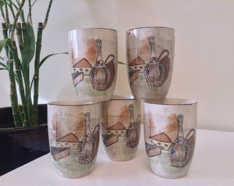 Vintage Capri Royal Sealy Japan 5 piece sake glasses, wine and cheese, ceramic cups