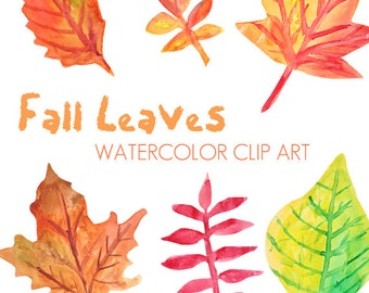 Fall Leaves Watercolor Clip Art Commercial Use