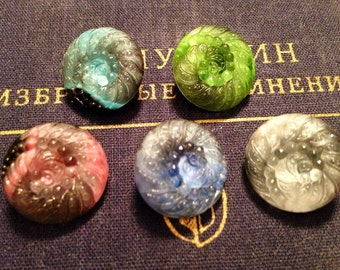5 old moonglow / glass buttons - peacock - rare - beautiful