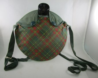 1950s Girl Scout Canteen, Plaid Cover, Farmville NC,  Mirror Aluminum Corp., Girl Scouts Canteen