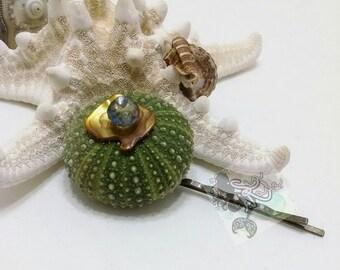 Green Sea Urchin Shell Hair Pin/mermaid hair accessories/pearl hair pin clip/beach hair jewels/sea urchin shell bobby pin/beach wedding hair