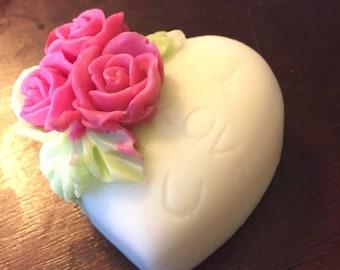 I love u red rose soap