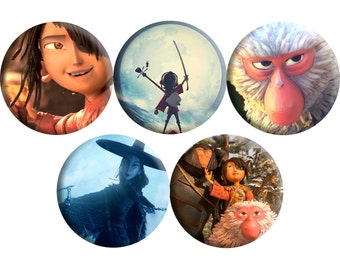 Set of FIVE Kubo and the Two Strings film badges (2016) handmade film / movie badge set [Charlize Theron, Matthew McConaughey]