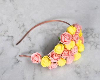 Peach Pink & Yellow Rose Flower Headpiece / Fascinator - Copper Headband