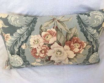 Blue Barkcloth Pillow, Vintage Throw Pillows Home Decor Fabric Mid-Century Handmade Flowers Shabby Chic Accent Decorative Roses Bark Cloth