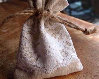 "12 Pack Linen & Lace Favor Bags, Drawstring, 12 Bags, 3x4"""