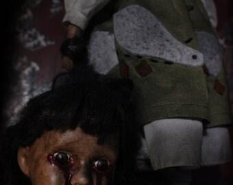 Headless Helen- Horror art doll, creepy porcelain doll, haunt prop, Halloween decor