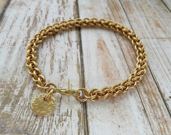 Radiance: Solid brass chainmaille bracelet in Jens Pind weave with bronze disc dangle
