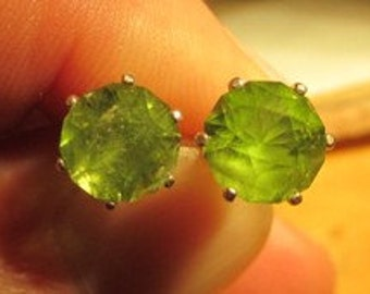 BIG 8mm peridot earrings, studs