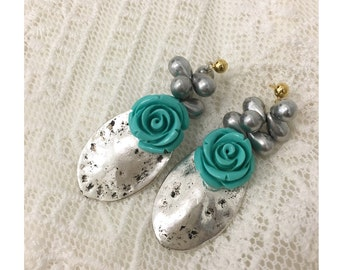 Silver in blue earrings