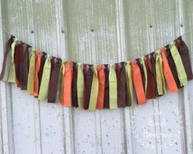 Woodland Animal Fabric Banner - Brown, Orange, and Green Banner, Baby Shower, Nursery, Birthday Banner, Garland, Bunting