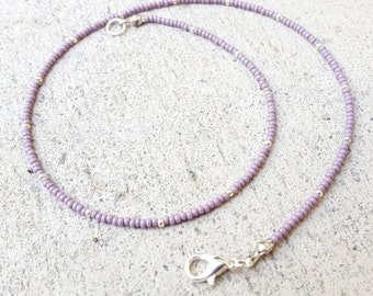 Purple Silver Seed Bead Choker, Czech glass seed beads, Minimal Necklace, Purple Seed Bead Choker, Small Beads, tiny beads, purple necklace