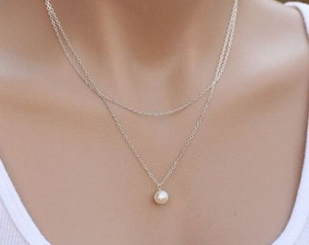 Silver Pearl Necklace - Women