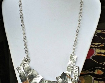 VINTAGE SILVER TONE Chain with Layered Textured Rectangle Pendent