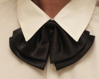 Women Bow Tie,  Satin Bow Tie, BLACK, with Adjustable Strap