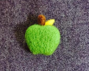 Needle Felted Apple Brooch