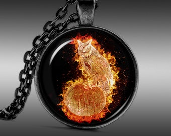 Owl Necklace, Burning Jewelry, Yellow Pendant Necklaces Pendants Jewellery FRW193