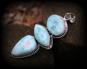 Big Larimar three stone pendant