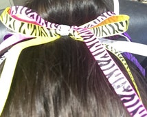 Handmade little girls cheerbow bun holder hair bow tie multi color and zebra stripped