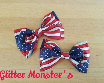 Boys American Flag Bow Tie in Cotton, Patriotic Boys Bow Tie, Patriotic Cotton Bow Tie, Groomsmen Bow Tie, Patriotic Summer Wedding Bow Tie
