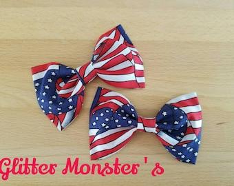 Boys American Flag Bow Tie in Cotton, Patriotic Boys Bow Tie, Patriotic Cotton Bow Tie, Groomsmen Bow Tie, Patriotic Summer Wedding Bow Tie