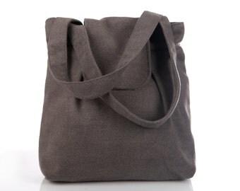Gray women purse, large gray purse, large shoulder bag, gray shoulder bag, gray fabric bag, large handbag, fabric purse, simple style bag