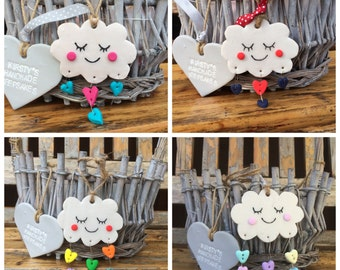 Cloud gift, red and blue, cloud, nursery cloud, cloud decoration, hanging cloud, heart raindrops cloud, rain cloud, white cloud, happy cloud
