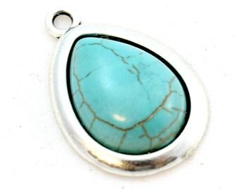 Blue Howlite Pendant. Blue Stone Pendant. Blue Teardrop Pendant. Turquoise Blue Pendant. Silver Teardrop. Silver Pendant. 26mm x 18mm