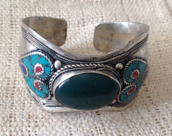 Vintage Turquoise Lapis Green Bloodstone  Coral Fivestone Cuff Bracelet