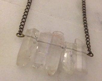Quartz crystal bar necklace