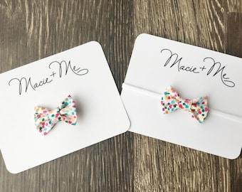 Mini Bows / Small Cotton Bows / Small Hair Bows / Mini Hair Bows / Pink Hair Bows / Polka Dot Hair Bows / Unique Hair Bows / Baby Hair Bows