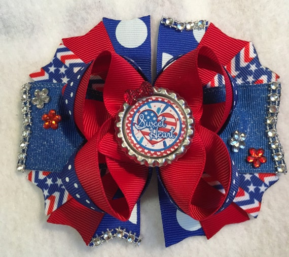 FOURTH of July girls hair bow/4th of July bow/Red White Blue girls hair bow/Sweet Heart girls bow/Girly Curl Bow/Birthday Party July bow