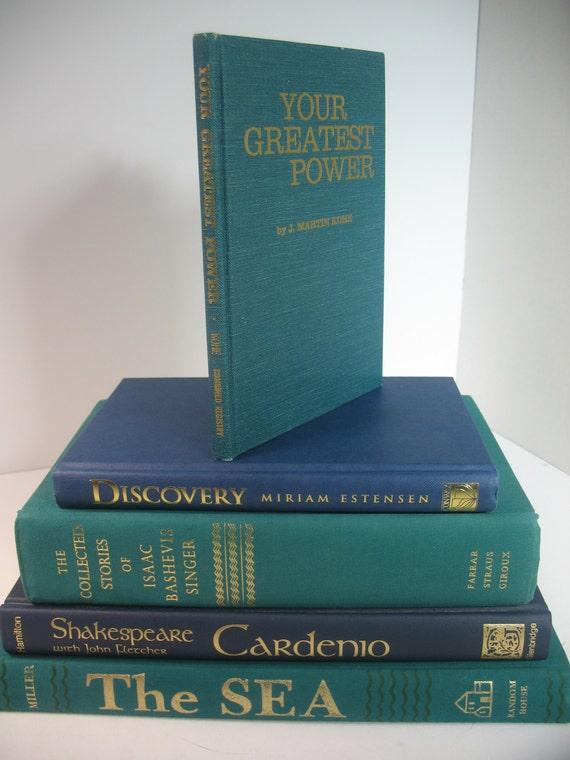 Modern 5 book decorative display set navy blue deep - Decorative books for display ...