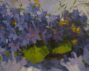 Violets. Oil painting. Canvas. Original. Sold unframed. Only Canvas