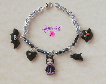 Maleficent bracelet- Maleficent kawaii polymer clay bracelet-Disney Maleficent-Disney bracelet-Disney jewelry