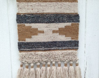 Neutral woven wall hanging/ tapestry / wall hanging / weaving / wall tassels