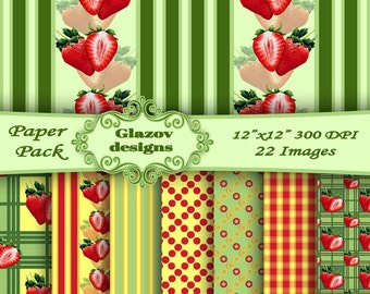 Strawberry digital papers, Strawberries scrapbook papers.  22 Printable Digital papers - 12 x 12 - 300 DPI. INSTANT DOWNLOAD!