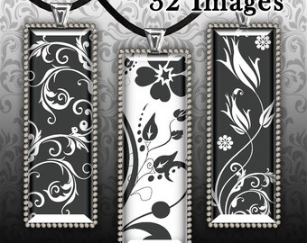 BLACK and WHITE Rectangles. Digital Collage Sheet 1 x 3 Inch. Printable Images for pendants magnets bottle caps bezel trays.