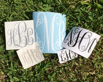 Monogram decal, vinyl monogram decal, car monogram decal, water bottle monogram decal, monogram sticker, vinyl monogram sticker