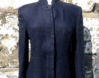 Vintage Marilyn Anselm for Hobbs Navy Linen Maxi Coat  Size S - M