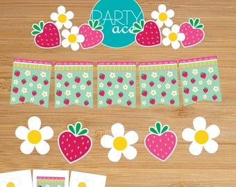 Strawberry & Flowers Picnic Banner