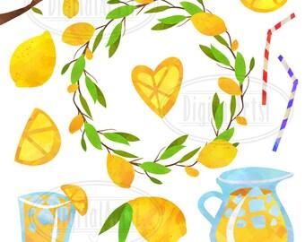 Lemon Clipart - Watercolor Lemonade Download - Instant Download - Cute Digital Lemons