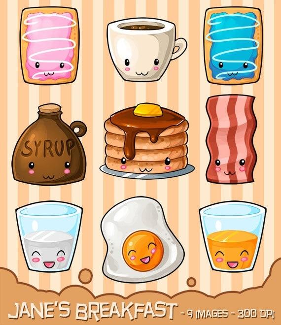 Kawaii Breakfast Clipart Hearty Breakfast By Digitalartsi
