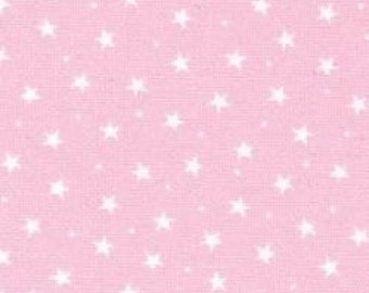 Pink with white stars cotton fabric