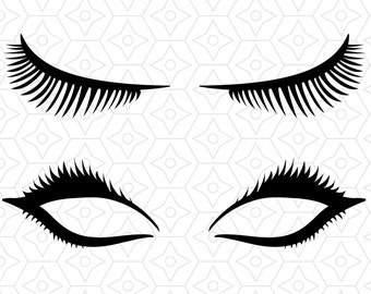 Eyelashes Decal Design, SVG, DXF, EPS vector files for use with Cricut or Silhouette Vinyl Cutting Machines